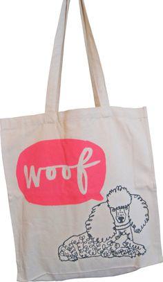 woof  canvas tote bag. $25.00, via Etsy.