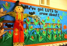 "A great title for a Halloween bulletin board:  ""We've Got Lots To Crow About!""  I love the three dimensional scarecrow that this teacher designed!"