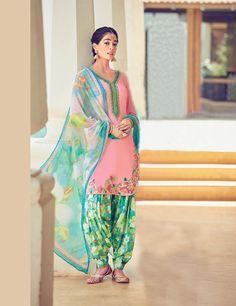 Light Pink Cotton Satin Punjabi Suit 70178