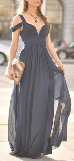 Beautiful Prom Dress, navy blue off the shoulder evening dress bridesmaid dress for wedding long chiffon formal with straps sleeves modest bridesmaid gown Meet Dresses Evening Dresses, Prom Dresses, Formal Dresses, Dress Prom, Party Dress, Bridesmaid Gowns, Summer Dresses, Grecian Bridesmaid Dress, Grey Bridesmaid Dresses Short