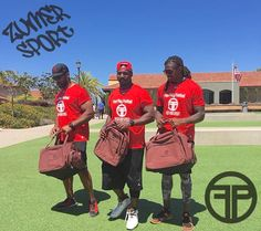 Check out NFL players Stephen Cooper, Lynell Hamilton, and Legedu Naanee repping their Fast Play Athletics football duffel bags and backpack! #NFL #football #athletes #duffelbag #backpack