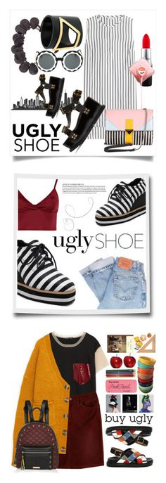 """""""Winners for Ugly (But Chic?!) Shoes"""" by polyvore ❤ liked on Polyvore featuring Brunello Cucinelli, Iceberg, MAC Cosmetics, Marni, Markus Lupfer, Sacai, Levi's, Lipsy, Lommé and prAna"""
