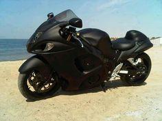 Stealth Black Suzuki Hayabusa. Hmmmmm truck and bike flat black????? Something to think about.
