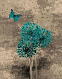 Teal-Brown-Butterfly-Flowers-Wall-Art-Home-Decor-Picture
