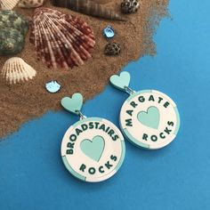 Stick Of Rock, Sunflower Necklace, Very Lovely, Pin Badges, Hand Coloring, Statement Earrings, Seaside, Washer Necklace, Bloom