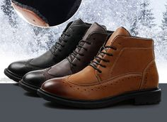 Winter Mens Casual Leather Lace Warm Fur Pointed Ankle Boots Dress ...