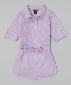 This Delta Purple Stripe Belted Button-Up Dress - Toddler & Girls by U.S. Polo Assn. is perfect! #zulilyfinds