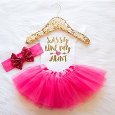 Sassy Like My Aunt Baby Girl Clothes Coming Home Outfit Baby Girl Bodysuit Girl Tutu Set Baby Shower Gift Take Home Outfit Glitter Shirt #9