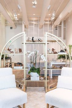 The amazing shoe setup at the Rachel Zoe Pop-up Shop at The Grove