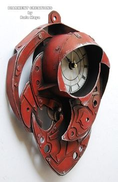^Steampunk Clock Red Metal^   | Made by Art Designer and Painter ~Rafa Maya~ of *DIARMENT CREATIONS* from Barcelona, Spain   |