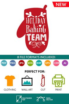 Holiday Baking Team SVG Cut Files Wall Art Quote Printable Art Decor room Art Printable Poster digital Svg Dxf Cdr Eps Ai Jpg Pdf Png