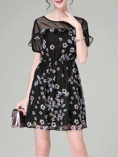 #AdoreWe KAN·F Black Short Sleeve Crew Neck Floral-print Mini Dress - AdoreWe.com