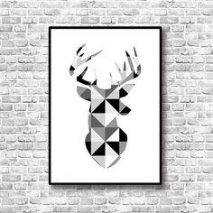 Silueta Cabeza Ciervo - Arte Geométrico - Lámina decorativa - Estilo escandinavo -