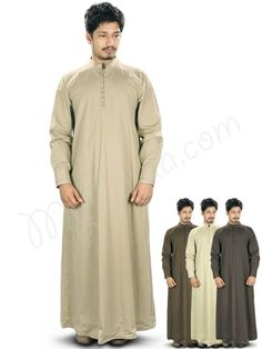 Islamic Mens Khaki Party Wear Galabiyya | MyBatua.com   Labib Galabiyya !  Style No : GM-025  Shopping Link : http://www.mybatua.com/labib-galabiyya    Available Sizes XS to 7XL (size chart: http://www.mybatua.com/size-chart/#ABAYA/JILBAB)    •	Tunisian collar •	Front opening top •	Stylish cuff sleeves with matching buttons •	Utility pockets on both sides. •	Colour: in 4 different color combinations •	Fabric: Poplin (100% cotton) •	Care: Dry Clean/ Machine wash with like colour