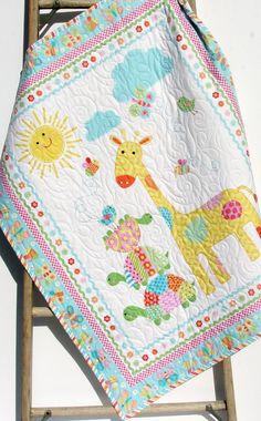 Baby Quilt, Girl Baby Blanket, Nursery Crib Bedding, Bundle of Love, Giraffe Turtles, Pink Yellow Blue Green, Modern Adorable Twin Bedding by SunnysideDesigns2