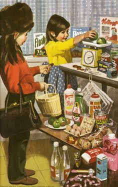 'Let's have everything out of Mum's pantry, & play shop' never understood why Mum freaked out when she saw what we were up to. Having had children of my own, I understand now :)