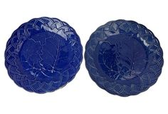 Rare English Blue Majolica Plates, Pair