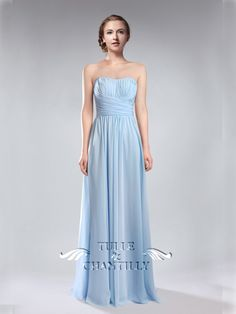 sky blue wedding color ideas - floor length sweetheart light sky blue bridesmaid dresses
