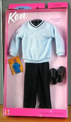 Barbie Ken Fashion Avenue 1999 Men Clothing Blue Sweater Black Pants in Pack   eBay