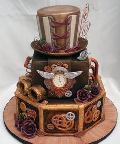 Cake Wrecks - Home - Sunday Sweets: Geek Wedding Cakes! AWESOME - some real talent here! Gorgeous Cakes, Pretty Cakes, Amazing Cakes, Cake Wrecks, Cakes Originales, Steampunk Wedding Cake, Steampunk Theme, Steampunk Halloween, Gothic Steampunk