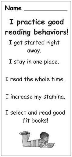 reading behaviors! Good idea for a bookmark.