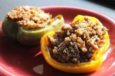 Poivrons farcis au boeuf, tomates séchées, feta et estragon #recette #paleo