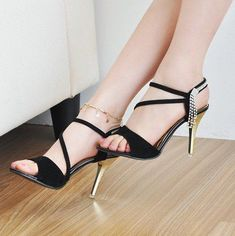 European Style fashion eveing shoes for ladies high heel shoes with rhinestone and free shipping.-in Sandals from Shoes on Aliexpress.com