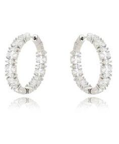 0205e1f9b39 brinco argola prata de luxo com zirconias cristais e banho de rodio semi  joias de luxo