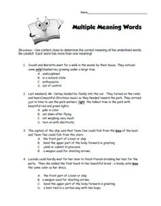 Printables Multiple Meaning Words Worksheets words multiple meaning and worksheets on pinterest worksheet