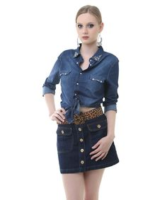 Saia jeans button front