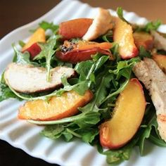 "Grilled Chicken, Peach, and Arugula Salad | ""Here are the proportions I recommend for 2 entree size portions: keep all the ingredients the same, except use 2 (4oz) chicken breasts. Given the adjustments I had to make, this is still a 5 star recipe, not only for it's ease, but for the impressive payoff!"""