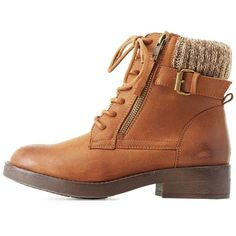 Charlotte Russe Sweater-Cuffed Combat Booties ($30) ❤ liked on Polyvore featuring shoes, boots, ankle booties, brown, buckle booties, brown military boots, lace up ankle booties, army boots and brown boots