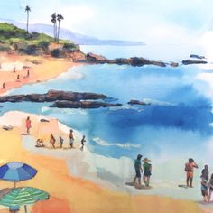 Going to the beach with my family is one of my favorite things to do. This is an unframed print of an original watercolor, gouache and charcoal drawing of a beach scene at Laguna Beach in Southern California. The paintings main colors are light blue, deep blue, peach, yellow, and orange. I love the watery texture of the paint, and the delicate details of the charcoal drawing. The print is a giclee and is printed on smooth, matte archival paper and will look amazing for 150 years!  This…