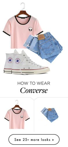 """:)"" by madihahnas on Polyvore featuring Levi's and Converse"