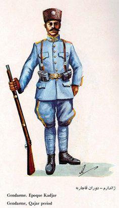 Qajar Dynasty-era Imperial Iranian Gendarmerie enlisted gendarmes' uniform.