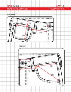 Tech pack for denim jeans Diy Clothes And Shoes, Sewing Clothes, Clothing Patterns, Sewing Patterns, Fashion Design Portfolio, Mens Pants Size Chart, Tech Pack, Patterned Jeans, Pattern Drafting