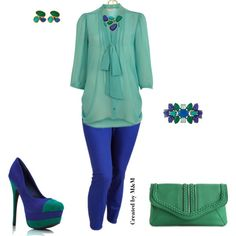 Electric Blue Skinny Jeans #1, created by marion-fashionista-diva-miller on Polyvore