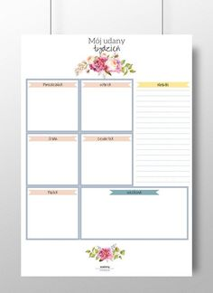 Planer tygodniowy - Szalony-Papiernik - Organizery na biurko Bullet Journal, Chart, Organization, Etsy, Getting Organized, Organisation, Tejidos