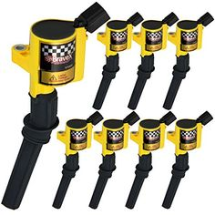 Bravex Ignition Coils for Ford F-150 F-250 F-350 4.6L 5.4L V8 DG508 DG457 DG472 DG491 CROWN VICTORIA EXPEDITION MUSTANG LINCOLN MERCURY Set of 8(Yellow). For product info go to:  https://www.caraccessoriesonlinemarket.com/bravex-ignition-coils-for-ford-f-150-f-250-f-350-4-6l-5-4l-v8-dg508-dg457-dg472-dg491-crown-victoria-expedition-mustang-lincoln-mercury-set-of-8yellow/