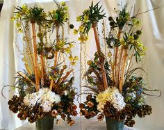 Two tall custom silk arrangements, Unusual permanent interior botanicals, bamboo, orchids, mixed greenery, berries, peonies, mums