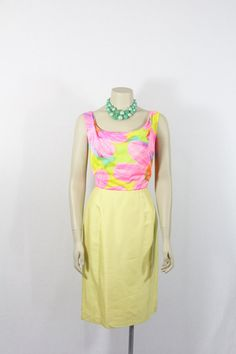 SALE.....1960s Vintage Dress  Yellow and by VintageFrocksOfFancy