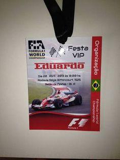Convite Credencial Fórmula 1   Lilika Design   Elo7