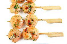 Brochettes de crevettes apéritives Entree Festive, Shrimp, Meat, Cooking, Food, Image, Kabobs, Mop Sauce, Recipes