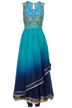 Turquoise to midnight blue ombre asymmetric layered anarkali set available only at Pernia's Pop-Up Shop.