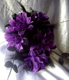 Gothic Cross Purple Silk Flowers And Black Roses Wedding Bouquet can also be Available In Red and Black Or Teal and Black on Etsy, $99.69