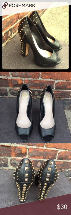 Vince Camuto Gold Studded Black Peep Toe Heels These Eye Catching Vince Camuto Heels will steal the Show! Make a Fabulous Statement and Rip your runway. Only worn once. Vince Camuto Shoes Heels
