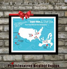 Unique Anniversary Gift Our Love Story Map Best by Printsinspired