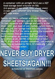 "Homemade fabric softener ""sheets"""