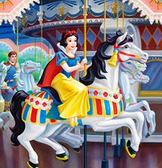 Snow White Carousel by Maggie Parr Disney Couples, Disney Love, Disney Magic, Disney Disney, Disney Stuff, Disney Films, Disney Cartoons, Disney Parks, Disney Crossovers