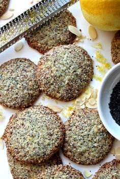 Crunchy Lemon Poppy Seed Cookies have the familiar flavor of lemon poppy seed muffins, baked into a crisp cookie! Great for care packages and cookie jars! Lemon Poppyseed Cookie Recipe, Lemon Poppyseed Muffins, Keto Cookies, Yummy Cookies, Almond Cookies, Delicious Cookie Recipes, Yummy Food, Dessert Recipes, Poppy Seed Cookies